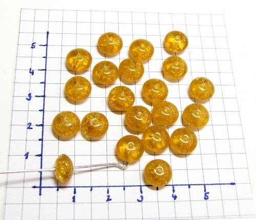Práskané, žluté korálky, 9 mm, 15 ks, placička