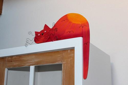 Dřevěná kočka ZÁPAD SLUNCE na dveře nebo polici