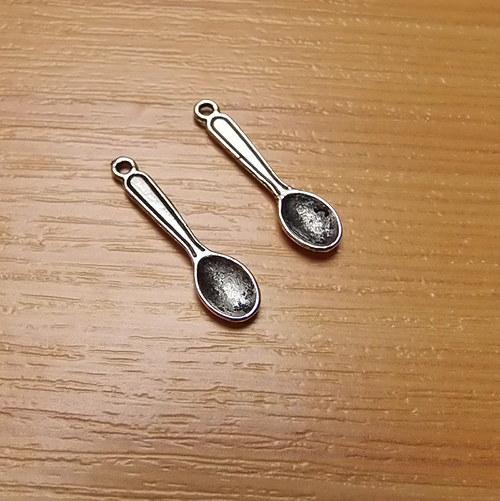 Lžička -  starostříbro - 6mm x 24mm - 2 kusy