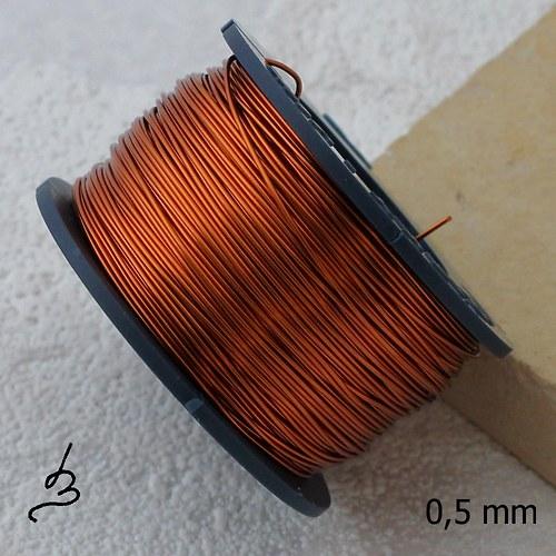 Měděný drát 0,5 mm lakovaný - 35 m