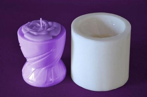 Forma na svíčky Pohár malý s růží výška 8cm