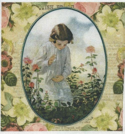 bavlněná látka - panel  9,5 x 9,5 cm