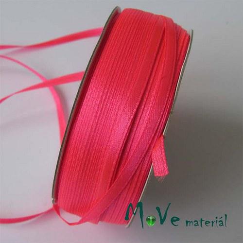 Stuha atlasová jednolící 3mm, 1m, neon. růžová