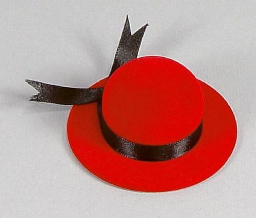 Klobouček červený - sametová krabička