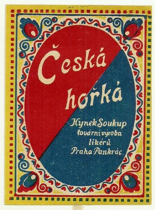Etiketa Česká hořká Soukup Praha