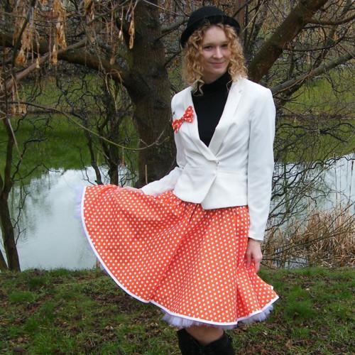 Oranžová puntíkovaná sukně