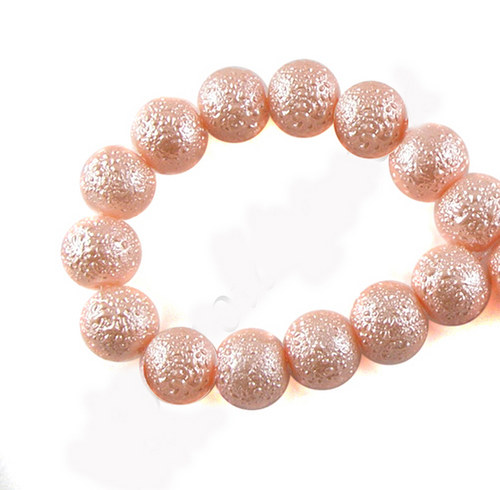 Zvrásněné perly průměr 6mm 20 ks barva lososová
