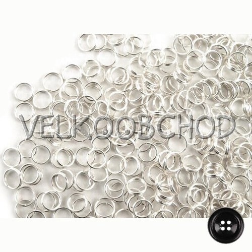 Dvojité kroužky pr.6 mm (50 ks) - stříbro