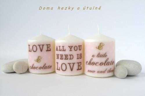 Souprava svíček Love and chocolate