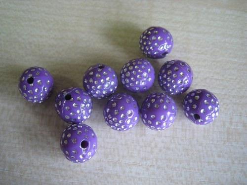 Akryl. korálky - fialové, 10 mm, 10 Ks / 9,--