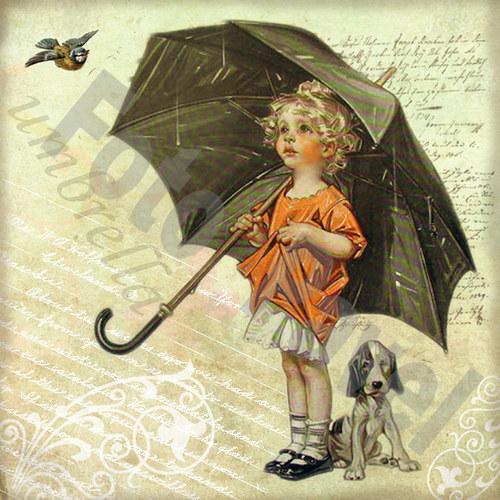 Vintage motiv - holčička s deštníkem