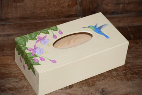 Malovaná krabička na kapesníky - kolibřík