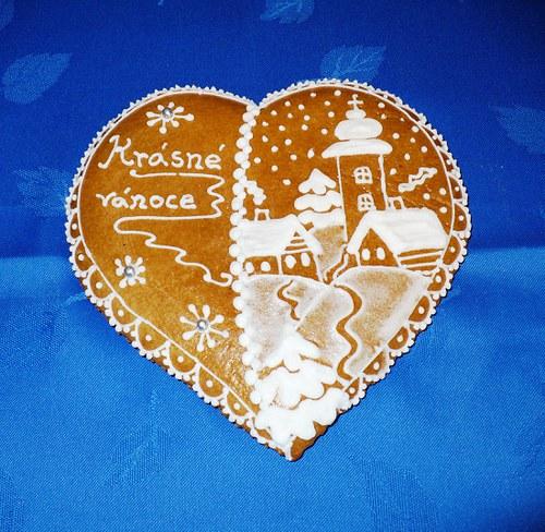 perníková vánoční pohlednice srdcová