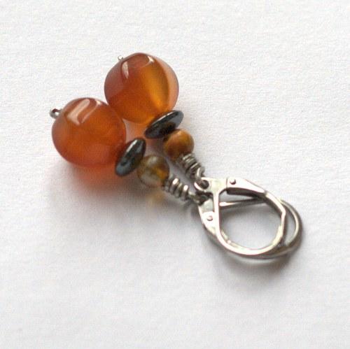 Náušky s karneolem, chirurgická ocel
