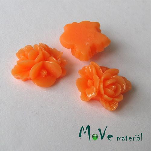 Kabošon květy lesklý A8- resin - 2ks, tm. oranžový