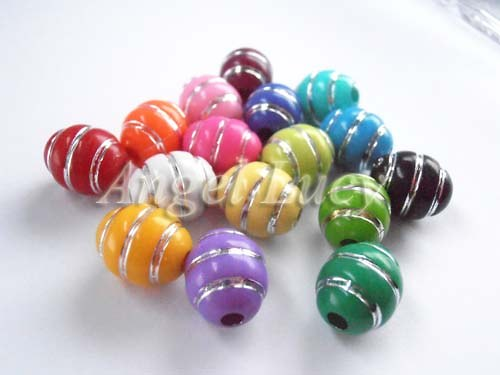Akrylové oválné korálky mix barev 10 ks