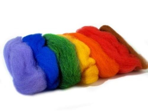 Ovčí rouno barvené - sada 7 barev(20g )