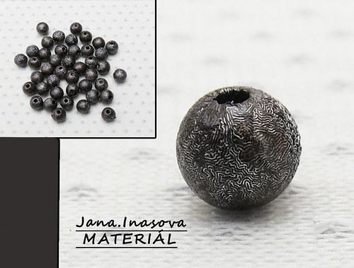 """Korálky - akryl \""""perleť šedo černé\"""" 10 ks"""