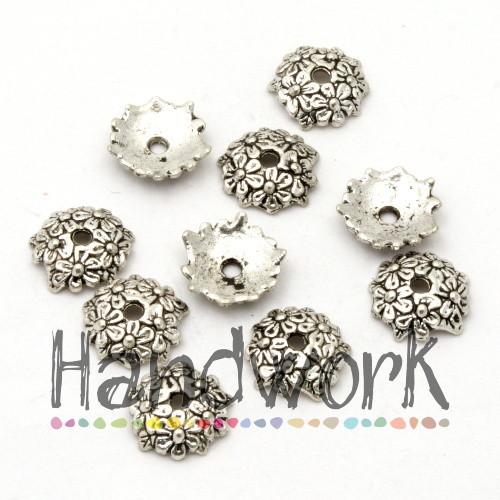 20737 Kaplík - květiny 12x3mm - platinový 10 ks