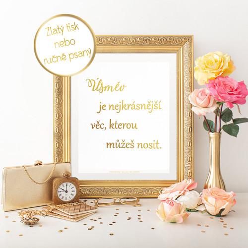 Zlatý inspirujíci plakát - Úsměv