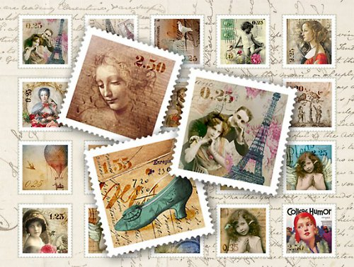 Nažehlovací obrázky-Známky- cena za 40 známek