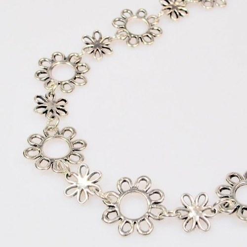 Řetězovina kytičky / antik stříbro