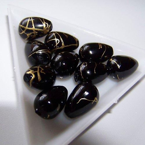 akrylové korálky, žíhané/ 10x15mm / černé/ 4ks