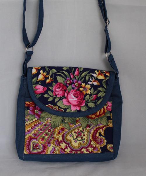 Taška květinový vzor modrá 2