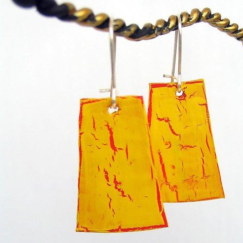 Žluté recyklované náušnice