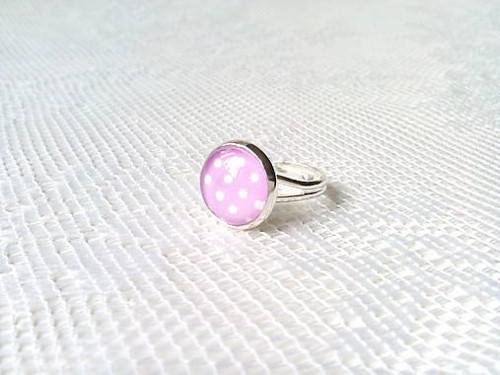 Pin Up ring (pink/white dots)