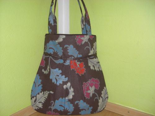Kabelka,taška-velke kvety s hnedou