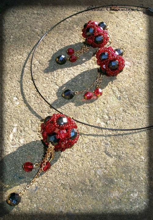 Gothic - sada šperků v červené a černé
