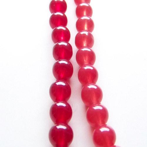 skleněné korálky imit. jadeit/červený tm/10mm/10ks