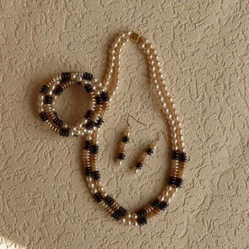 komplet hnědá duha - náhrdelník+náramek+náušnice