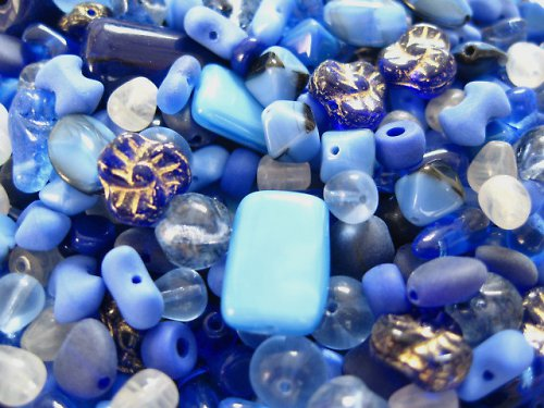 1500036/Mix mačkaných korálků modrých, 50 g