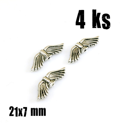 Korálky KŘÍDLA ANDĚL, 21x7 mm, 2 ks