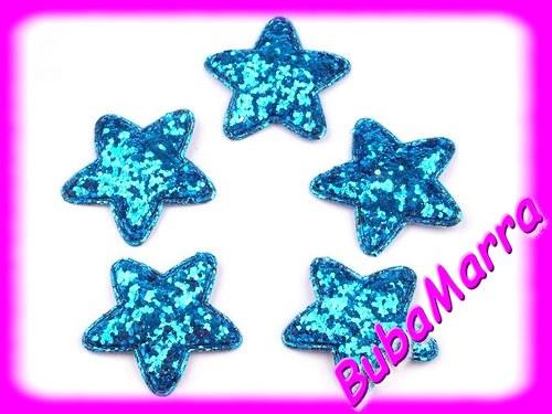 4ks ~ Hvězda s flitry~  Ø45mm ~ tyrkysová
