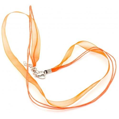 Ozdobná stuha  z organzy se zapínáním - oranžová