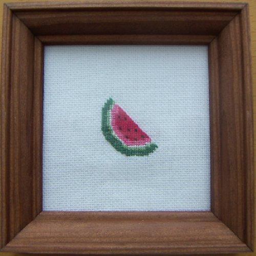 Vyšívaný obrázek - meloun