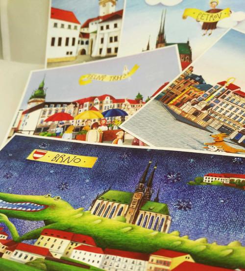Sada 5 autorských pohlednic s motivy Brna