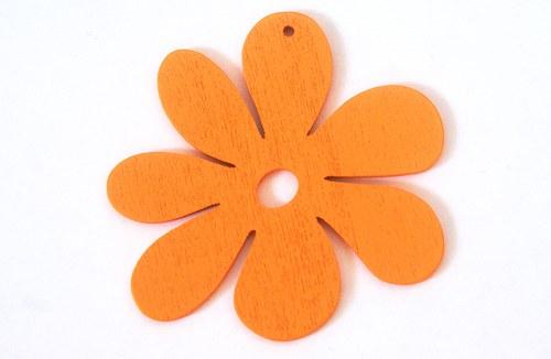 dřevěné kytičky- oranžové