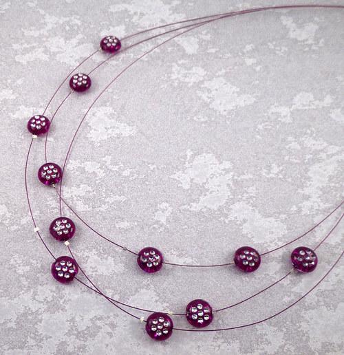 náhrdelník fialové kvítí