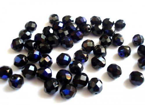 Broušená kulička černá azuro 8mm
