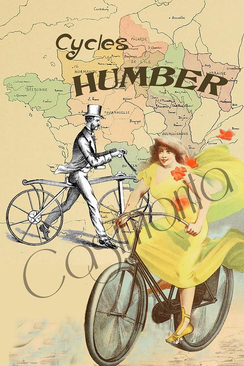Cyklisti - vintage motiv