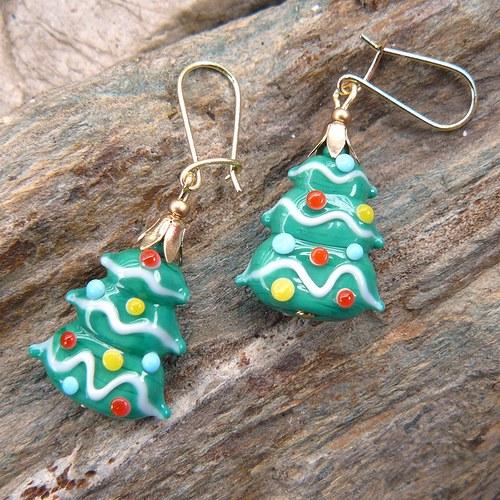 Náušnice - vánoční stromeček - vinuté perle