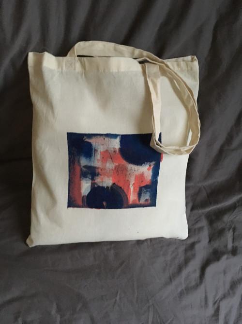 """Malovaná taška ,, abstraktní čtverec\"""""""