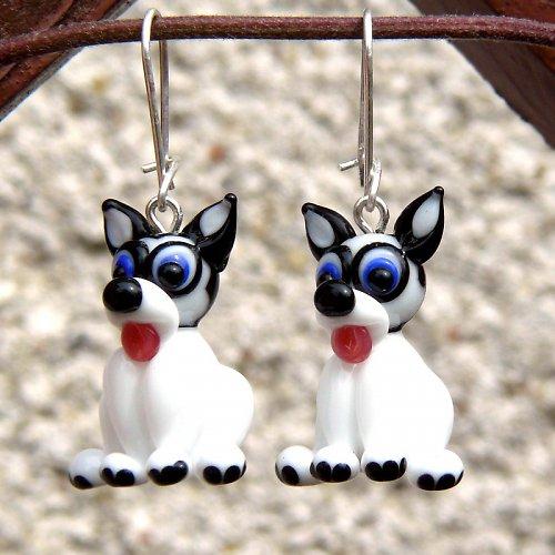 Náušnice pes HUSKY - vinuté perle
