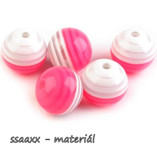 Plastový korálek ~ 18 mm ~ 5 ks ~ jasně růžový