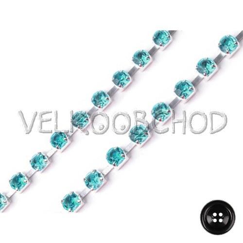 Borta š.3,5 mm+kamínky (1m) - blue zirkon stříbro
