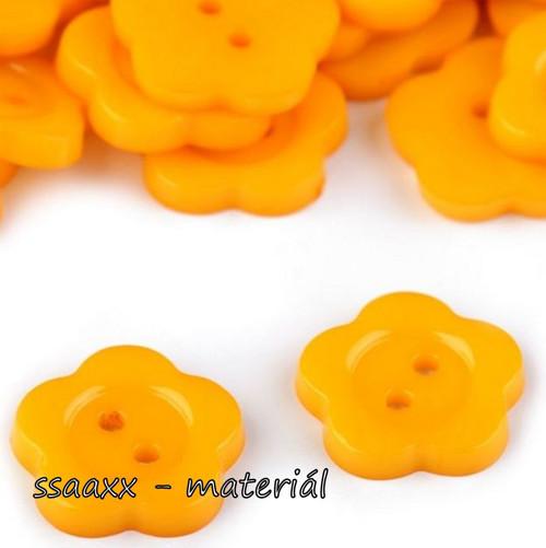 Plastový knoflík ~ květ ~ 14 mm ~ 2 ks ~ žlutý